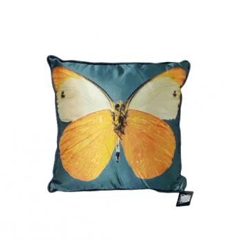 Cojín mariposas turquesa 28 x 28