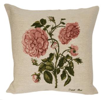 Funda cojín tejido flor rosa 45 x 45