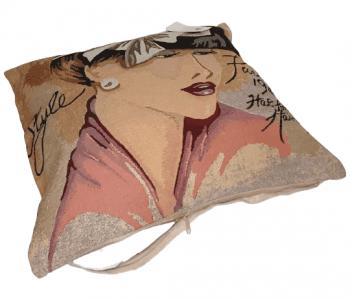 Funda cojín tejido 1940 dama  45 x 45 - 2