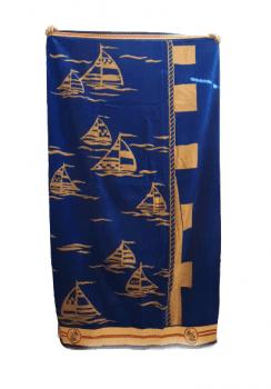 Toalla playa azul barcos
