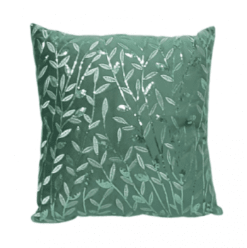 Cojín lentejuelas verde 40 x 40