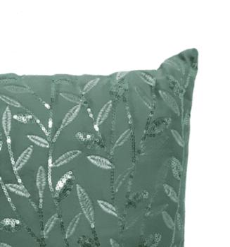 Cojín lentejuelas verde 40 x 40 - 1