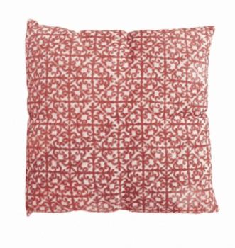 Cojín rojo geometría dorado 45 x 45