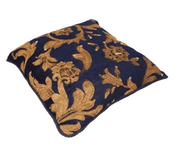 Cojin azul bordado oro 40 x 40