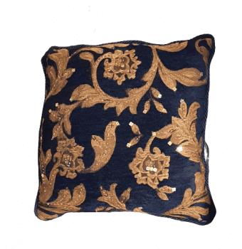 Cojin azul bordado oro 40 x 40 - 1