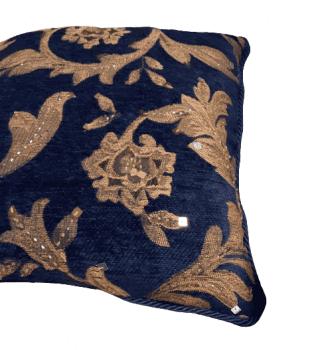 Cojin azul bordado oro 40 x 40 - 2