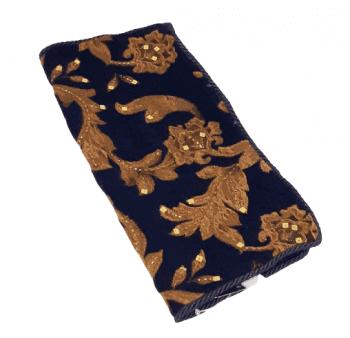 Cojin azul bordado oro 40 x 40 - 3
