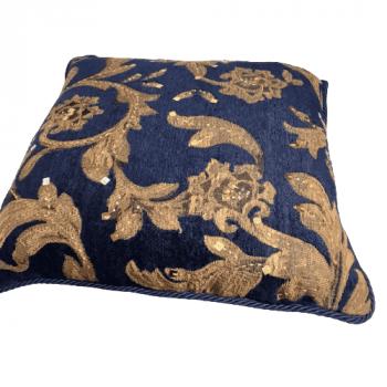 Cojin azul bordado oro 40 x 40 - 4