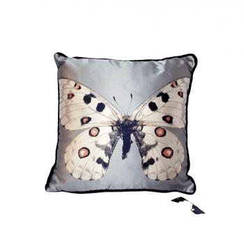 Cojín seda mariposa gris 28 x 28