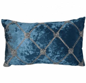 Cojines terciopelo azul plata - 2