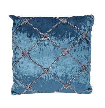 Cojines terciopelo azul plata - 4
