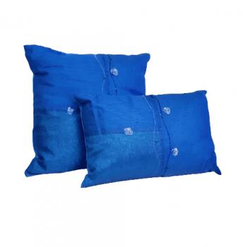 Cojines azul seda