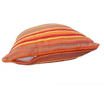 Cojines naranjas de rayas de chenilla - 2