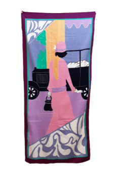 Toalla playa terciopelo rosa 75 x 170