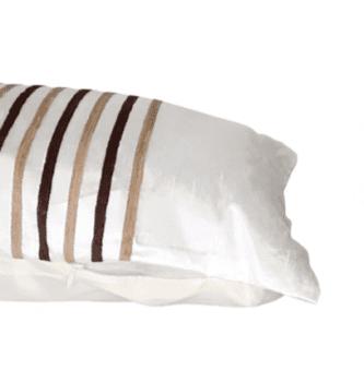 Cojines blancos rayas marrones 30 x 50 - 1