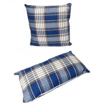 Cojines cuadros escoceses azul - 3
