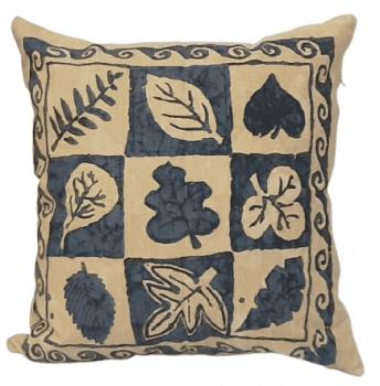 Funda de cojín con hojas azules 50 x 50 - 3
