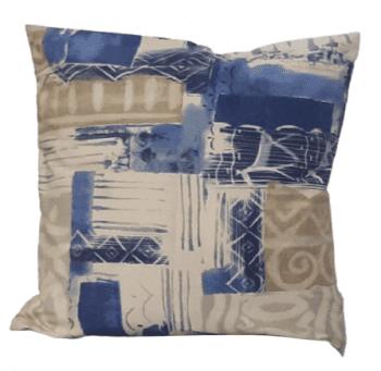 Funda cojín abstracta azul 50 x 50