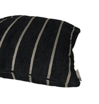 Funda de cojín negra de chenilla a rayas 45 x 45 - 1