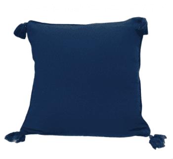 Funda de cojín azul marino con flecos 45 x 45 - 1