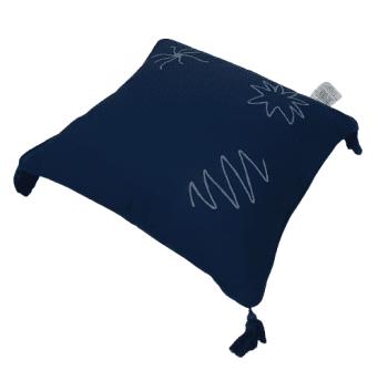 Funda de cojín azul marino con flecos 45 x 45 - 4