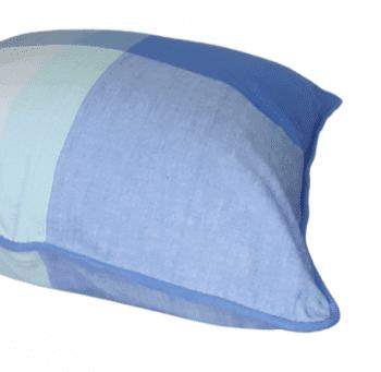 Funda de cojín de cuadros azules 45 x 45 - 1
