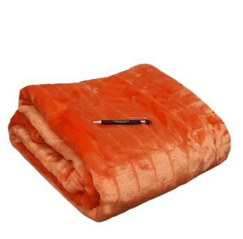 Manta terciopelo acanalada naranja 180 x 240
