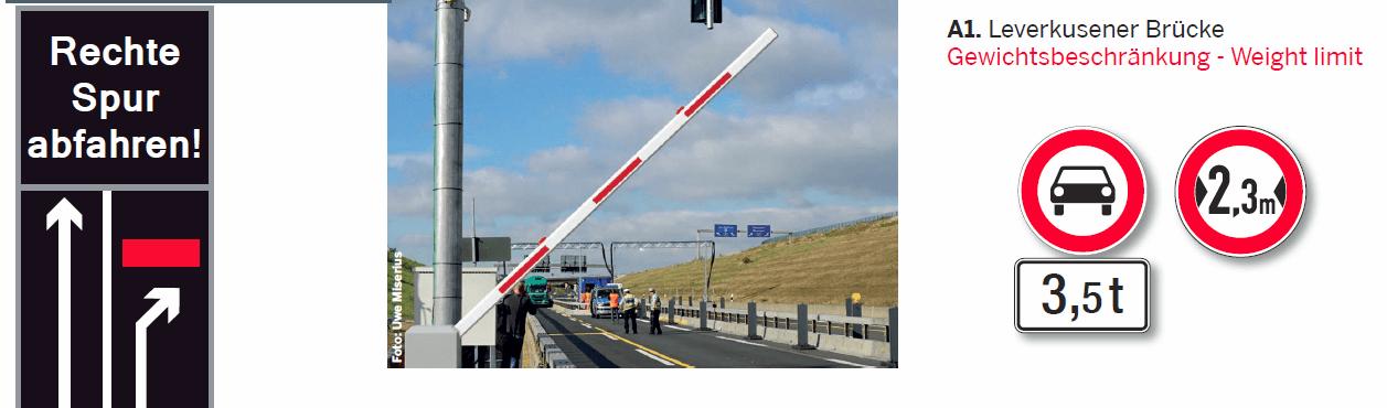 Prohibición de circular puente sobre el Rin en Leverkussen
