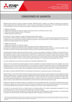 MITSUBISHI ELECTRIC ECODAN - Condiciones de la Garantía 2021-2022