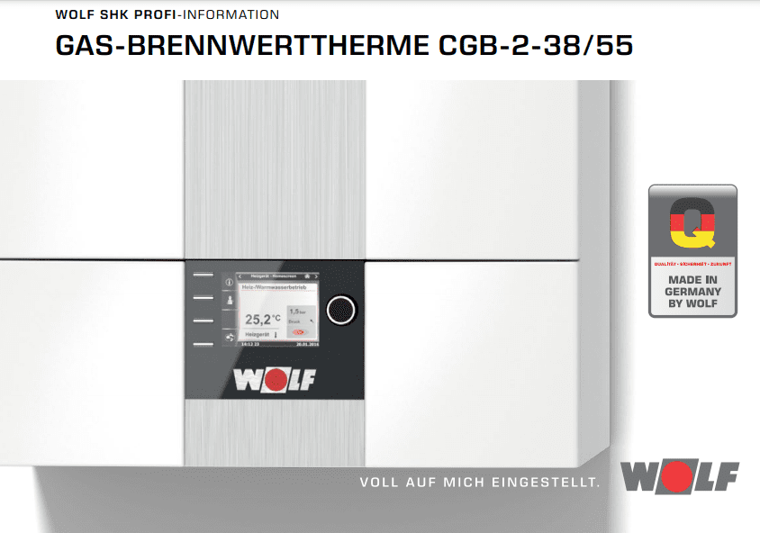 Caldera Wolf CGB2 de 38kW y 55kW Sólo Calefacción | 1:7 Alta Modulación | Hibridable | Cascada en Opción