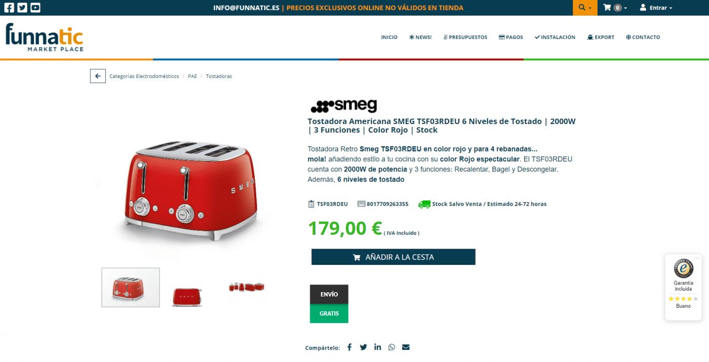Tostadora SMEG TSF03RDEU en Stock   6 Niveles de Tostado   2000W   3 Funciones   Color Rojo   Espectacular & Funcional