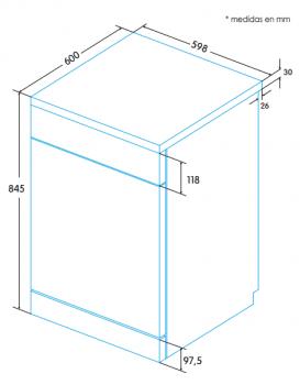 EDESA EDW-6122 X Lavavajillas 60cm | Acero Inoxidable Antihuellas | 12 Servicios | A++ - 2