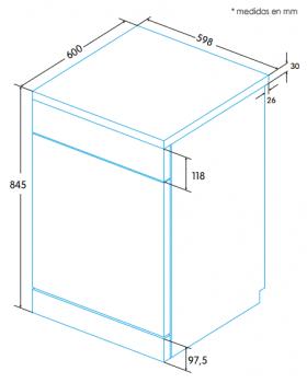 EDESA EDW-6121 X Lavavajillas Acero Inoxidable 60cm | Función Media Carga | Programa rápido 30 min. | 12 Servicios A++ - 5