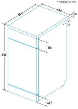 EDESA EDW-4591 WH Lavavajillas Blanco 45cm | Programa rápido 30min | Programa especial Cristal | 9 Servicios A+ - 4