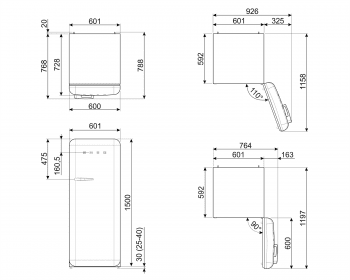 Smeg FAB28RYW3 Frigorífico-Congelador Amarillo 153x60x72,8cm | 1 Puerta | Apertura Derecha | A+++ | ¡Envío Gratis! - 8