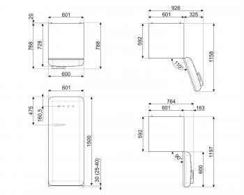 Smeg FAB28RPG3 Frigorífico-Congelador Verde 153x60x72,8cm | 1 Puerta | Apertura Derecha | A+++ | ¡Envío Gratis! - 8