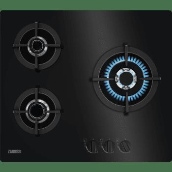 Placa de Gas Zanussi ZGO68330BA Negra de 60 cm con 3 Fuegos (1 Wok) Termopar Parrillas hierro fundido