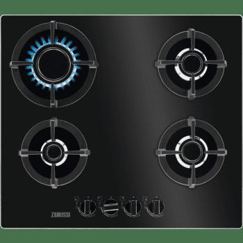 Placa Vitrocerámica Zanussi ZGO68410BA Negra de 60 cm con 4 quemadores (1 PureFlame) Termopar Parrillas de hierro fundido