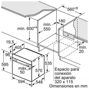 Bosch HBB578BS6 Horno Multifunción Pirolítico de 60 cm en Acero Inoxidable | Puerta Extraíble | WiFi Home Connect | A | Serie 6 - 2