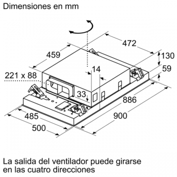 Campana de Techo Bosch DRC96AQ50 en Acero Inoxidable, de 90 cm a 734 m³/h | Control Placa-Campana | Wifi Home Connect | B | Serie 6 - 9