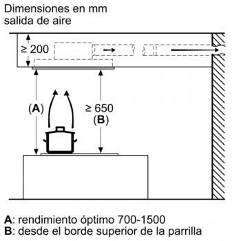 Campana de Techo Bosch DRC96AQ50 en Acero Inoxidable, de 90 cm a 734 m³/h | Control Placa-Campana | Wifi Home Connect | B | Serie 6 - 10
