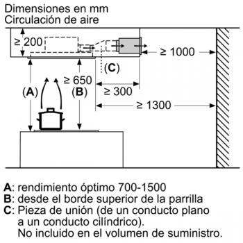 Campana de Techo Bosch DRC96AQ50 en Acero Inoxidable, de 90 cm a 734 m³/h | Control Placa-Campana | Wifi Home Connect | B | Serie 6 - 11