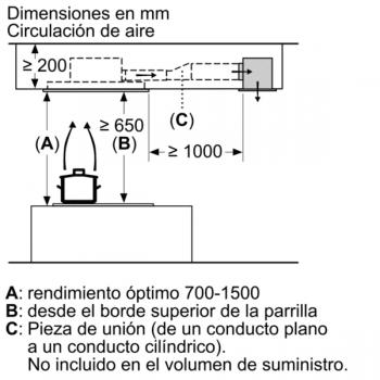 Campana de Techo Bosch DRC96AQ50 en Acero Inoxidable, de 90 cm a 734 m³/h | Control Placa-Campana | Wifi Home Connect | B | Serie 6 - 12