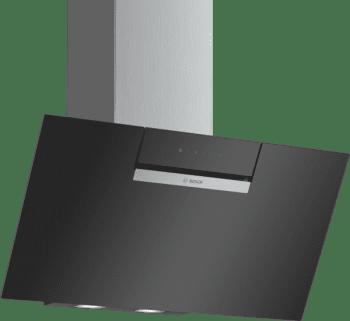 Campana decorativa de pared Bosch DWK87EM60 en Cristal Negro de 60 cm a 669 m³/h | B | Serie 2