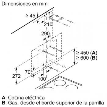 Campana decorativa de pared Bosch DWK87EM60 en Cristal Negro de 80 cm a 669 m³/h | B | Serie 2 - 9