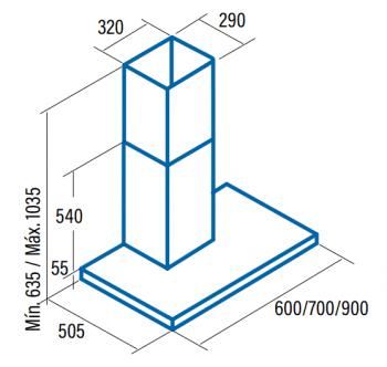 Campana de pared CATA 02021307 Sygma 7000 Inoxidable de 70 cm de 4 Velocidades a 850 m³/h Clase A - 2