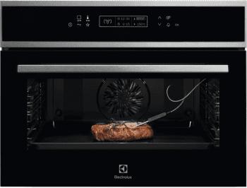 Horno Compacto 45cm Electrolux EVE8P21X Cristal Negro | Pirolítico | Asistente Cocción | Diseño y Sofistiación | A+