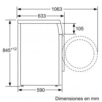 Lavadora Bosch WUU24T7XES Inox de 9Kg a 1200 rpm | Pausa + carga | Motor EcoSilence A+++ -30% | Serie 6 - 5