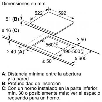 Placa de Inducción Balay 3EB865ERS   60 cm   3 Zonas - Max. 28 cm - 8