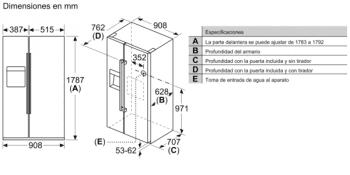 Frigorífico Americano Bosch KAD93AIEP Inox antihuellas de 178.7 x 90.8 cm No Frost | Dispensador agua y hielo | Motor Inverter | Clase F | Serie 6 - 12